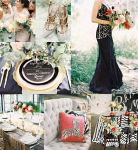 A black, gold, and cayenne wedding boldly announces refined elegance.