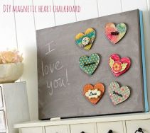 Photo: Mod Podge Rocks http://modpodgerocksblog.com/2014/01/diy-magnetic-heart-chalkboard-with-podgeable-magnets.html